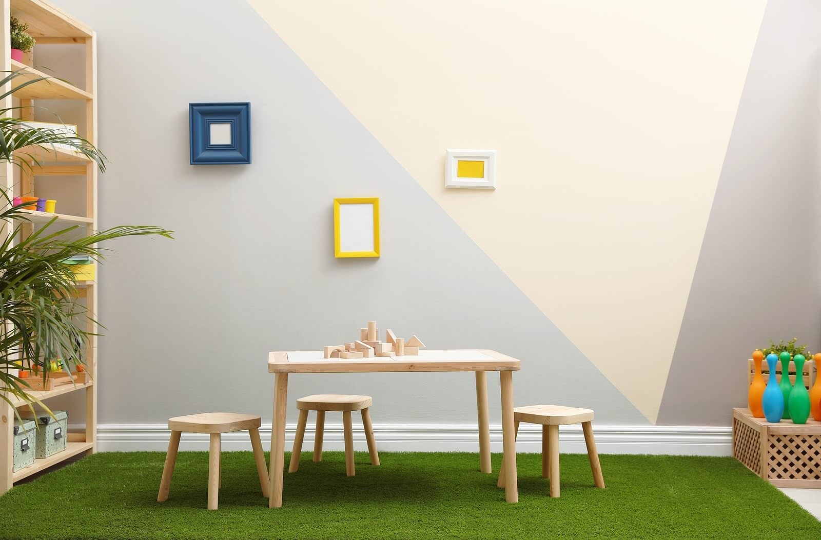 table and chair in artificial grass