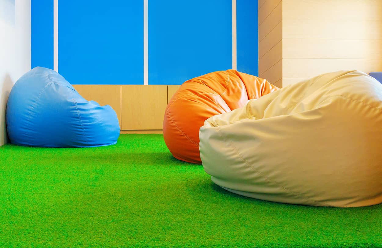 indoor bean bag on artificial grass